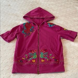 Johnny Was LA Pink Embroidered SS Hoodie GUC